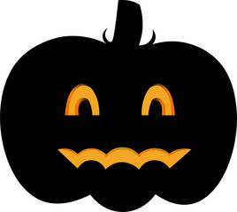 Vector colorful illustration of one drawn bright black color pumpkin