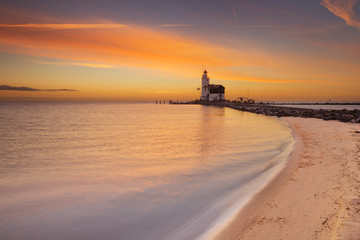 Lighthouse of Marken in The Netherlands at sunrise
