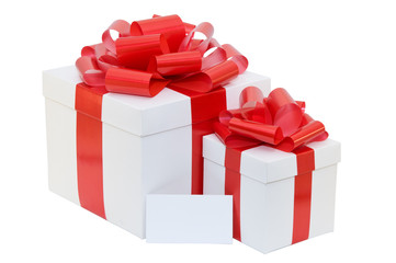 white gift box with a red ribbon with business card