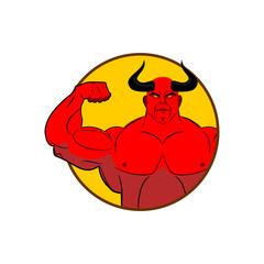 Logo for gym. Satan bodybuilder shows biceps. Emblem for sports