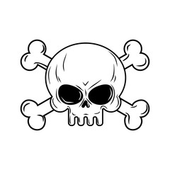 Skull with bones. Pirates sign vector illustration. Head skeleto