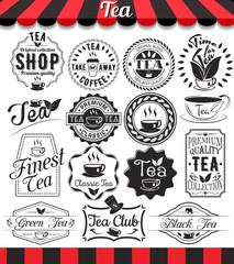 Set of vintage retro tea vintage labels and badges