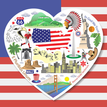 Set american landmarks icons and symbols