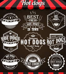White illustration set of hot dogs retro vintage labels, badges