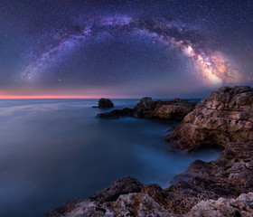 Milky Way over the sea. Night landscape with Milky Way Galaxy above the Black sea