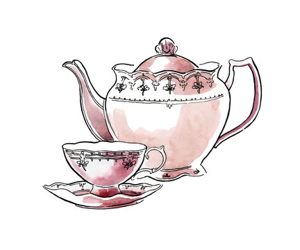 Hand made sketch of tea sets. Vector illustration.