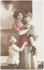 old photo  of  mother with children