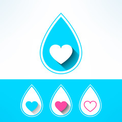 Vector water drop made in modern flat design. Organic and