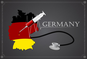 Map of Germany with Stethoscope and syringe.