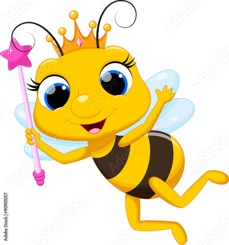 """Cute queen bee cartoon"" Stock image and royalty-free ..."
