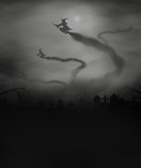 witches fly off cemetery