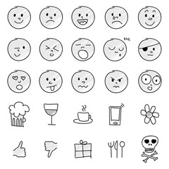 Set of hand drawn emoticons