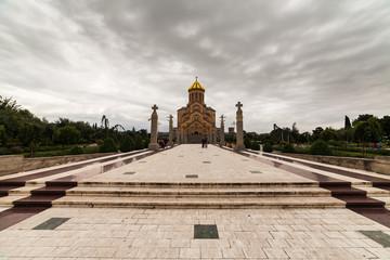 beautiful Tsminda Sameba Cathedral in Tbilisi, capital of Georgia