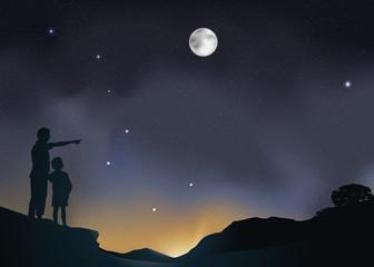 Paysage Astronomie pere enfant