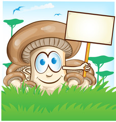 .mushroom cartoon with signboard on  forest background