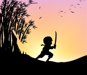 Silhouette ninja cutting bamboo with sword
