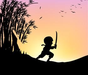 Silhouette ninja cutting bamboo with sword