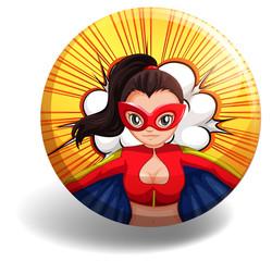 Female superhero on round badge