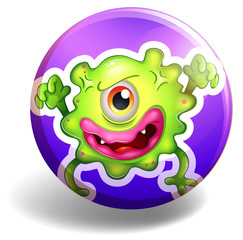 Green monster on purple badge