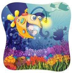 Children in submarine under the water