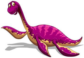 Pink dinosaur smiling on white