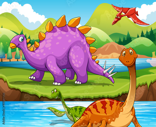 Dinosaurs living by the river