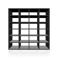 Black empty rack or bookshelf with twenty four cubbyholes. Isolated vector illustration on white background.