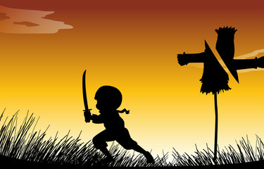Silhouette ninja with sword