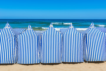 Beach tents In Zarautz, Basque Country (Spain)