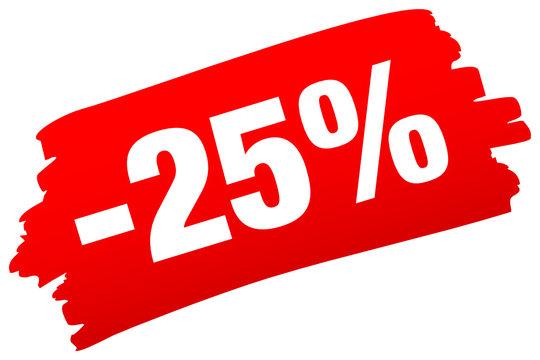 "Brushstroke ""-25%"" Red"
