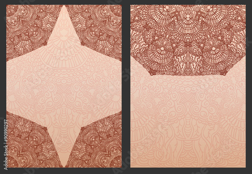 Set Of Exotic Template For Design Wedding Invitations And Greeting Cards Ethnic Henna Flowers Mehndi