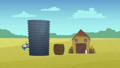 Country barn and water reservoir. Digital raster illustration.