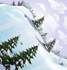 Snow slide with fir trees. Beautiful landscape. Digital raster illustration.