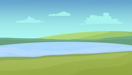 Meadows and lake on a sunny day with clouds. Digital raster illustration.