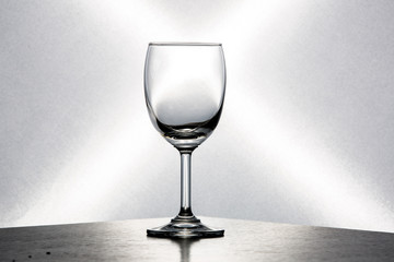 Wine glass placed on white background.