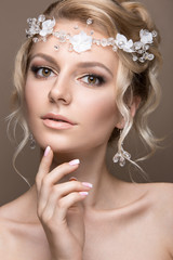Beautiful blond woman in image of the bride. Beauty face and