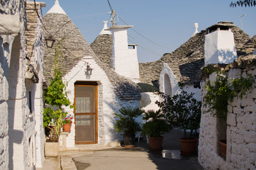 Unique trulli houses with conical roofs. Alberobello.