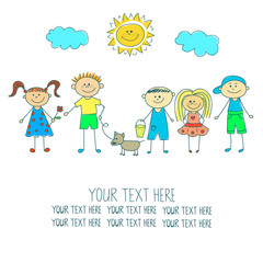 Background with happy children. Group of kids. doodle vector illustration.