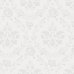 Grey vintage floral seamless pattern
