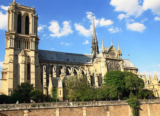 France. Paris. Cathedral Notre Dame de Paris is a most famous cathedral (one thousand one hundred sixty-three - 1345)