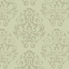 Grunge green vintage floral seamless pattern