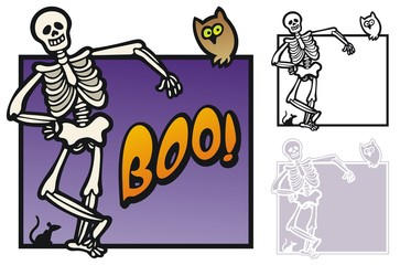 Halloween border with a skeleton, owl and rat