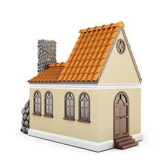 House on a white background with a roof of tiles