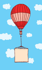 Hot air balloon flying with hanging blank sign