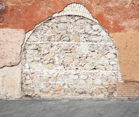 Fototapete - Wall with  immured arch passage, photo texture