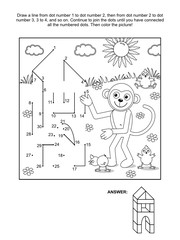 Connect the dots picture puzzle and coloring page - monkey the builder. Answer included.
