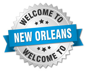 New Orleans 3d silver badge with blue ribbon