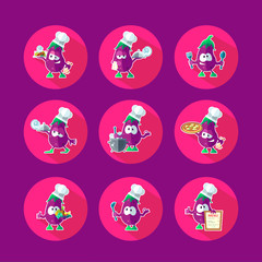 Round flat vector icon set with chef eggplant and kitchenware
