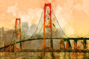Brücke und Großstadt