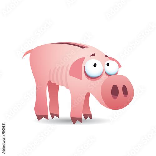 Cochon tirelire maigre humoristique fichier vectoriel - Tirelire dessin ...